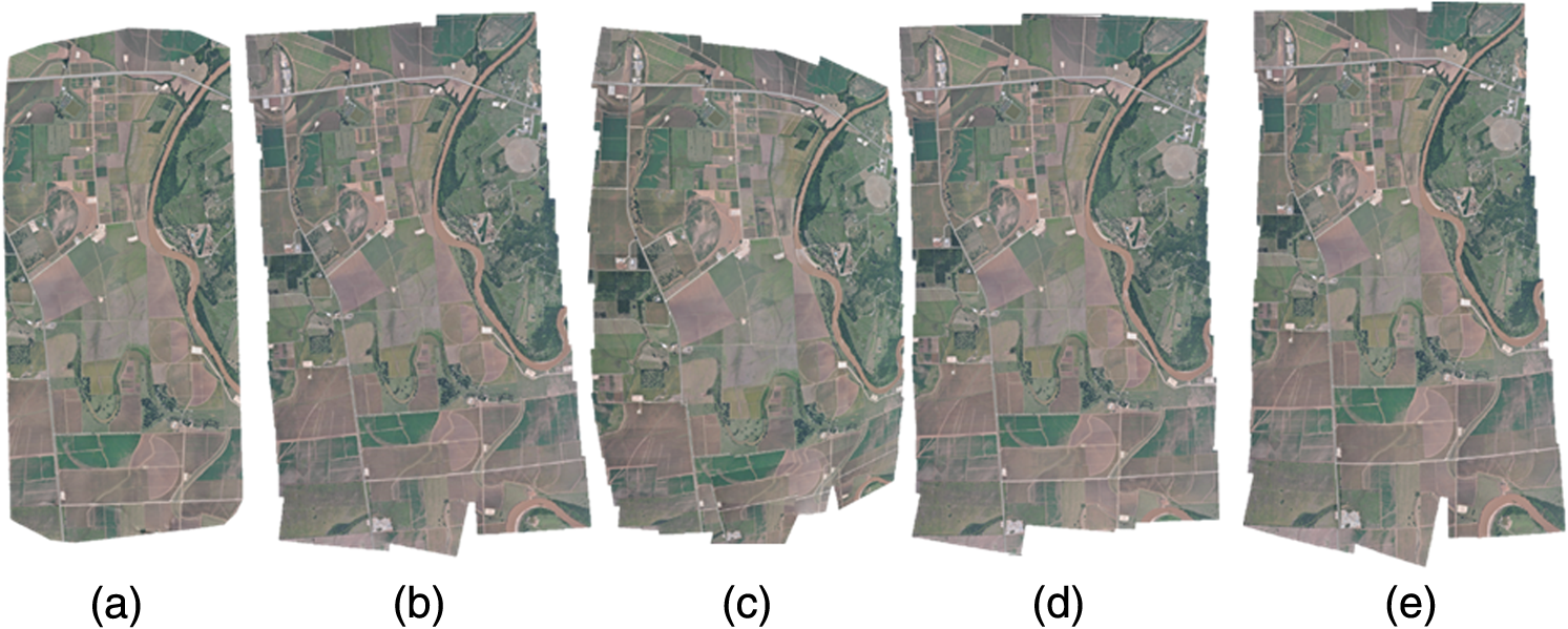 Comparison of mosaicking techniques for airborne images from