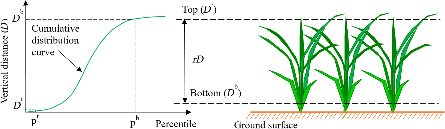 Method for estimating rice plant height without ground surface