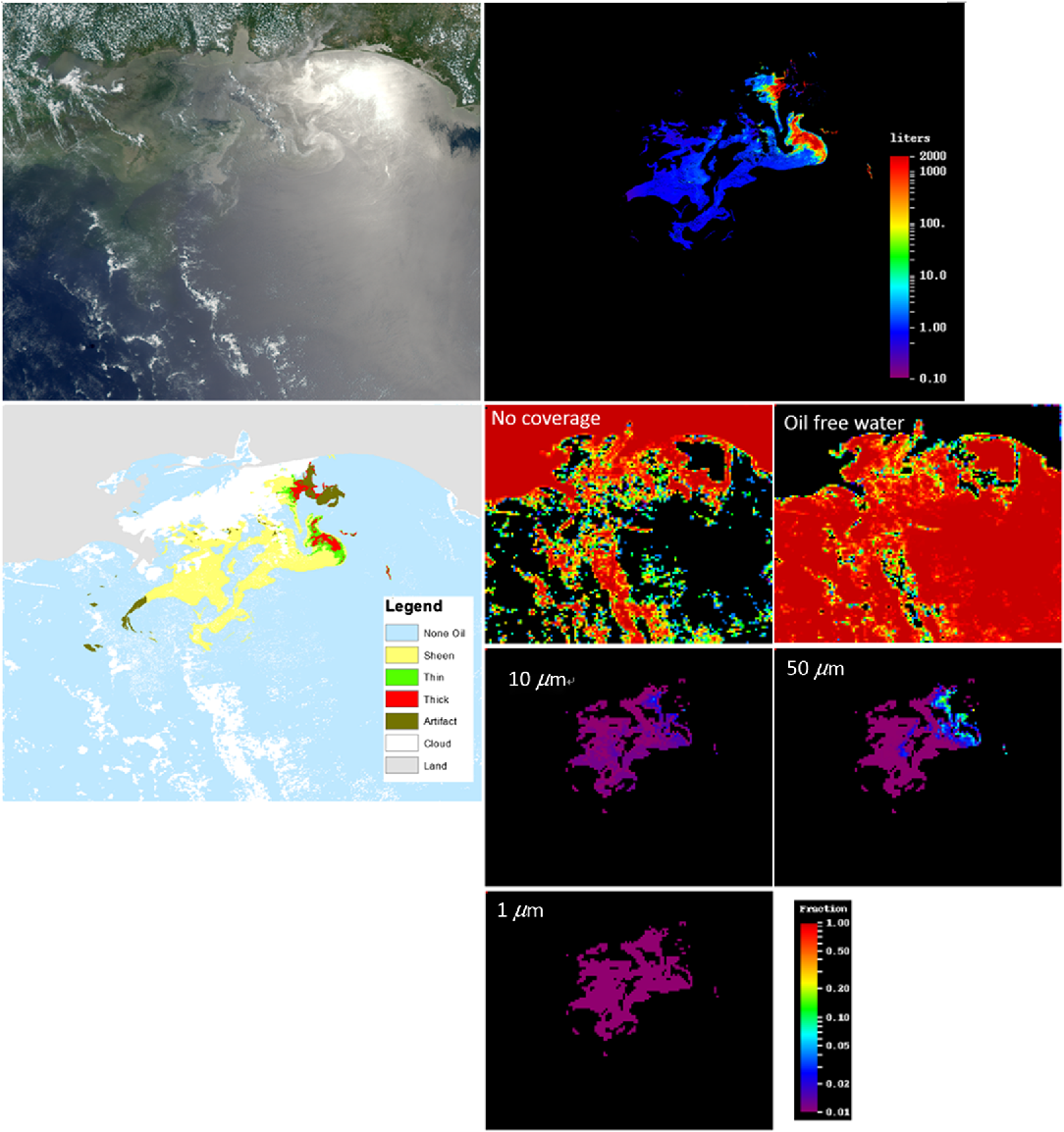 Remote sensing estimation of surface oil volume during the 2010