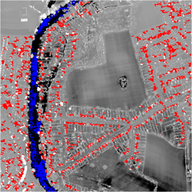Robust algorithm for detecting floodwater in urban areas