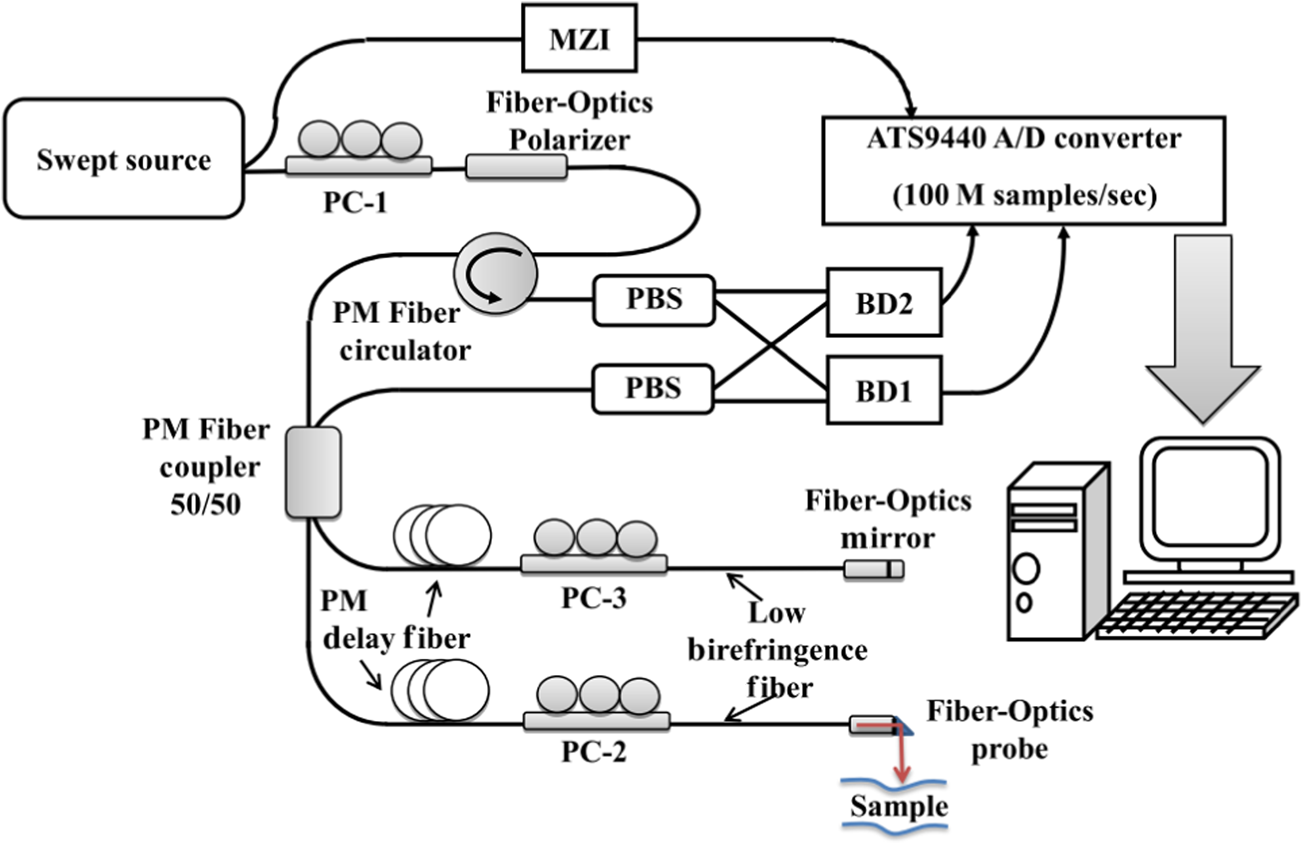All Fiber Optics Circular State Swept Source Polarization Sensitive Optic Probe Diagram Optical Coherence Tomography Ssps Oct System Constructed Entirely From Components