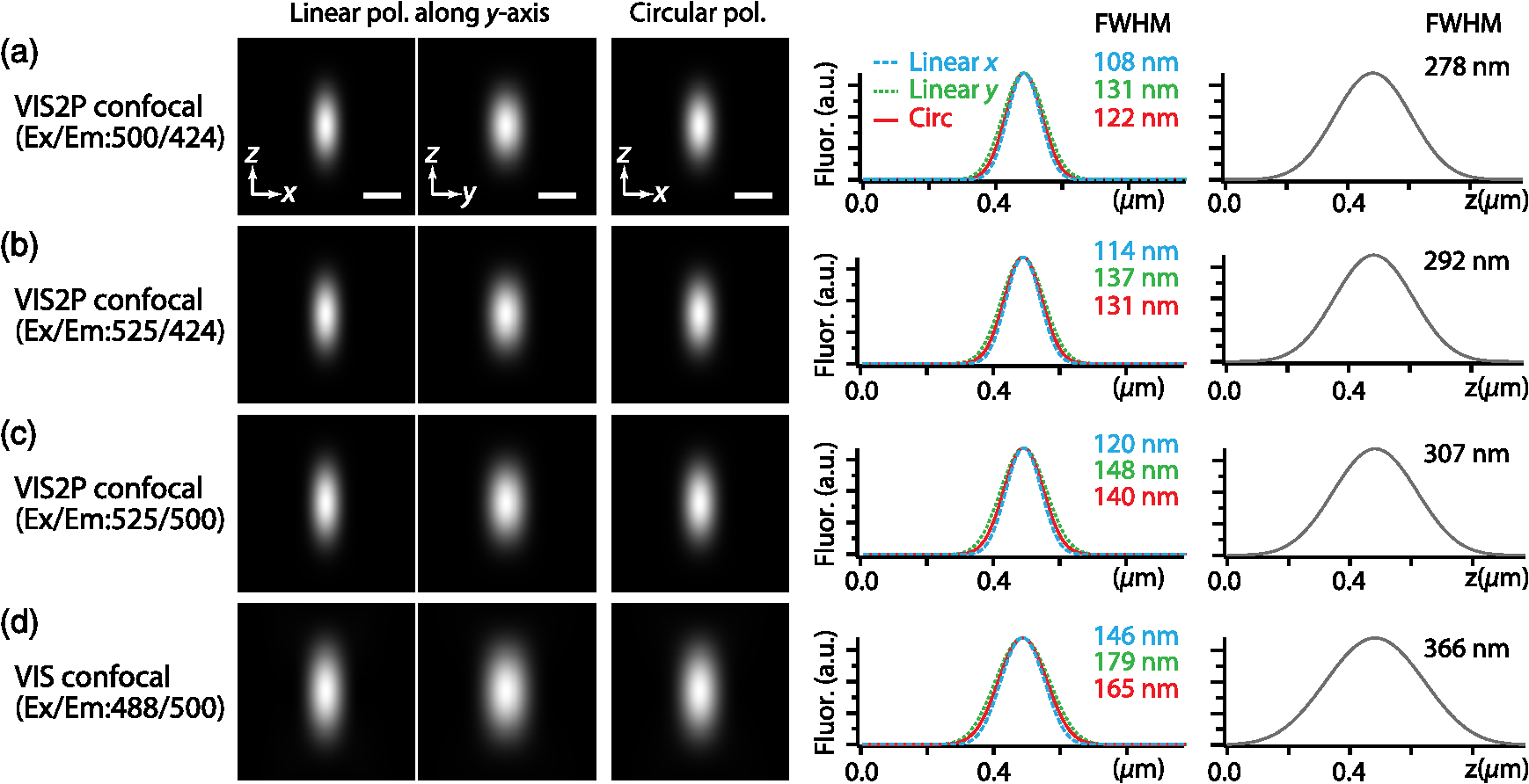 Visible-wavelength two-photon excitation microscopy for fluorescent