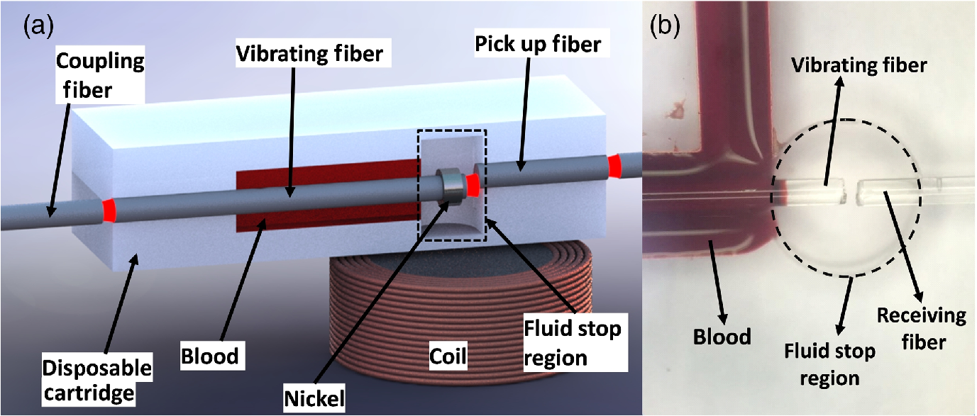 Coagulation Measurement From Whole Blood Using Vibrating Optical Interface Circuit And Method For Sensor System Also Note That The Ni Piece Is Not Attached To Fiber Cantilever Shown Here Since It A Functional Cartridge But Fabricated Only Fluid Stop