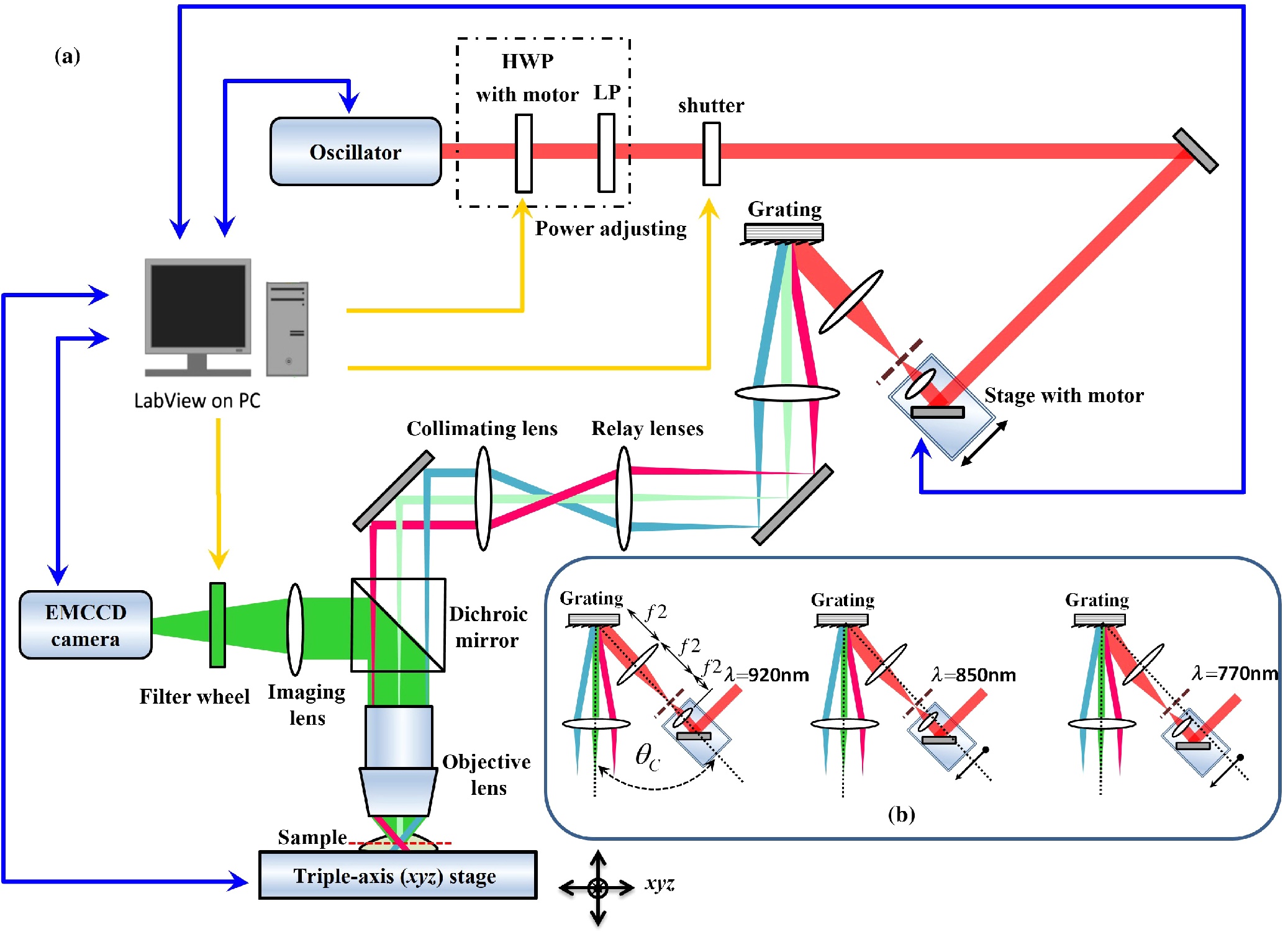Two-color temporal focusing multiphoton excitation imaging with