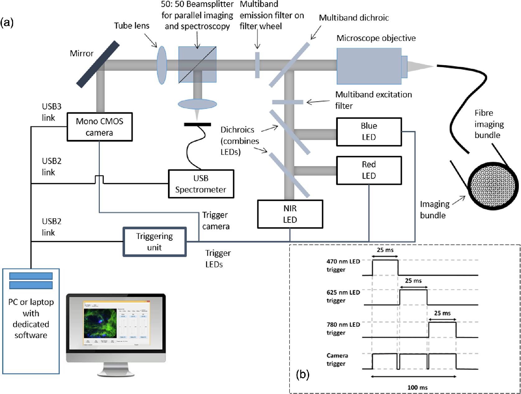 Low-cost high sensitivity pulsed endomicroscopy to visualize