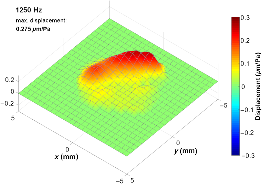 Oscillation map of a human Tympanic Membrane in vivo at 1250 Hz