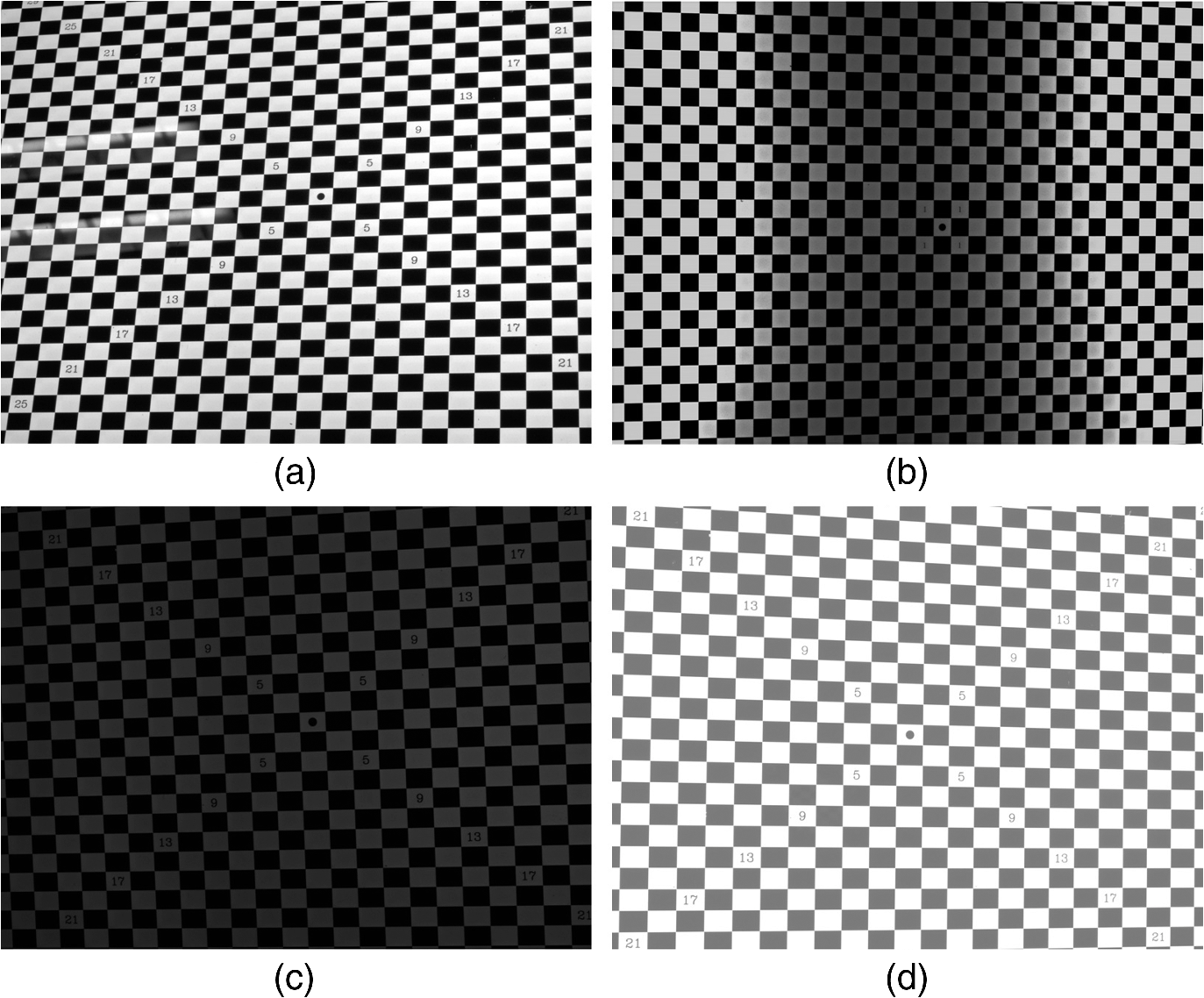 Camera calibration method with checkerboard pattern under