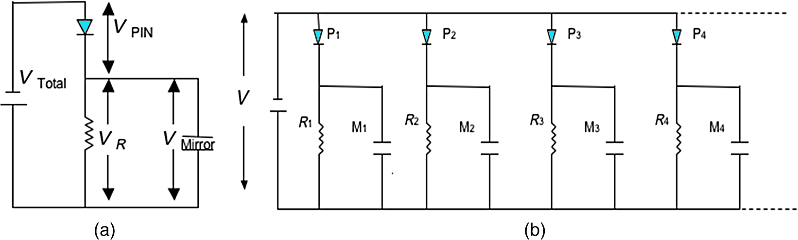 Fabrication And Characterization Of An All Optically Addressed Cascaded Form C Dry Contact Wiring Schematic Equivalent Circuit A Single Pixel With Voltage Drop Across The Components B Large Array Mirrors In Parallel