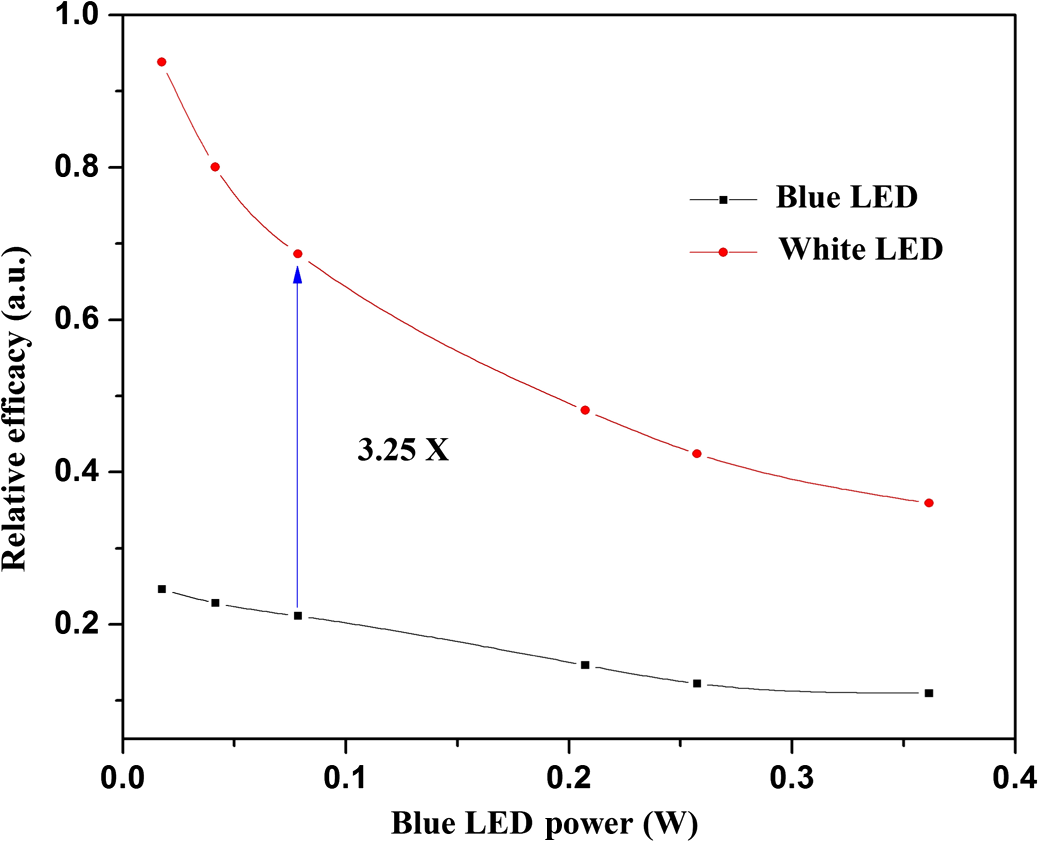 Theoretical Analysis Of Blue To White Down Conversion For Light Zxsc400 In The Luxeon High Powered Led And Datasheet Plot Relative Efficacy Versus Power Optimized Phosphor Concentration