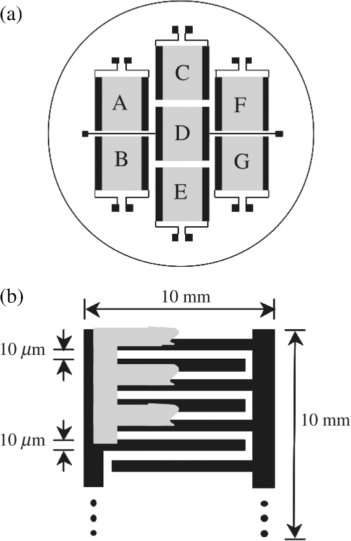 ... photoconductive antenna units having interdigitated electrode  structure. The units are labeled A–G for later reference. (b) Structure of  electrodes and ... 12a2eae64978