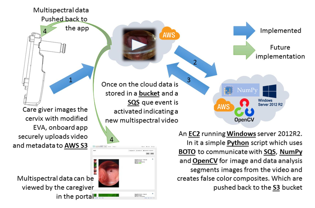 Cloud-based processing of multi-spectral imaging data