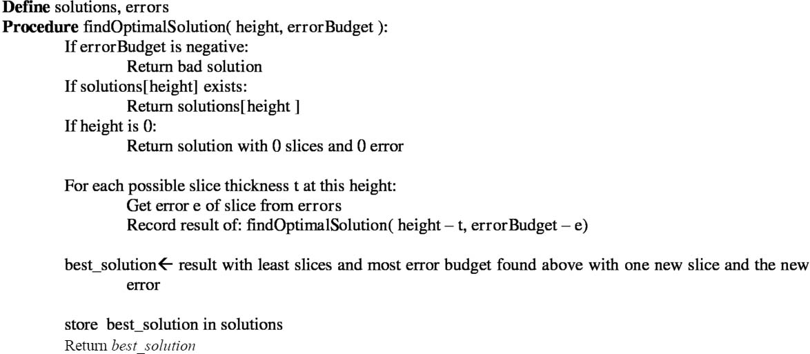 Dynamic programming approach to adaptive slicing for