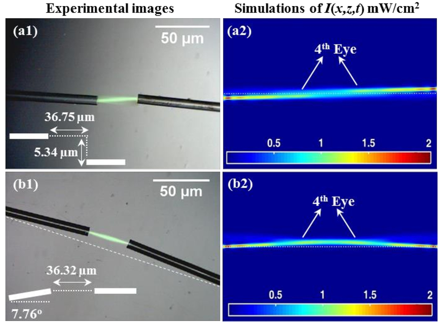 Self-bending of optical waveguides in a dry photosensitive medium