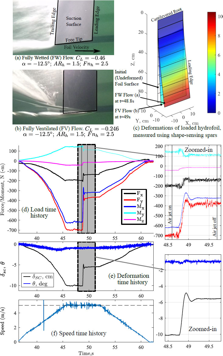 Sensing and control of flexible hydrodynamic lifting bodies