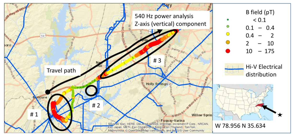 Ground vehicle power line spectral sensing using GIS