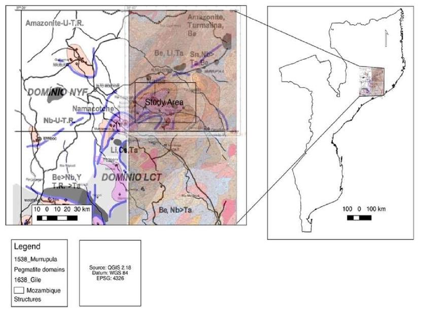 Pegmatite spectral behavior considering ASTER and Landsat 8