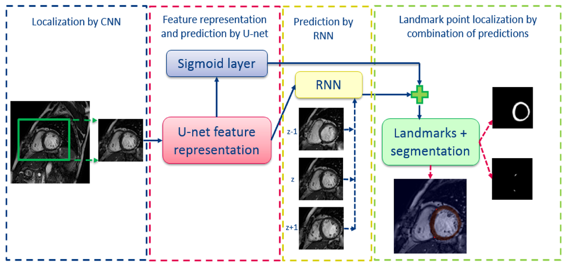 Automatic cardiac landmark localization by a recurrent neural network