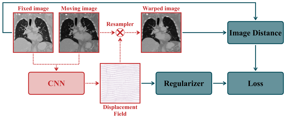 Unsupervised learning for large motion thoracic CT follow-up
