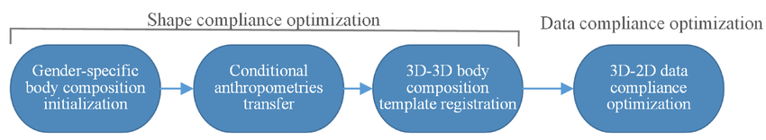 Shape-based three-dimensional body composition extrapolation using