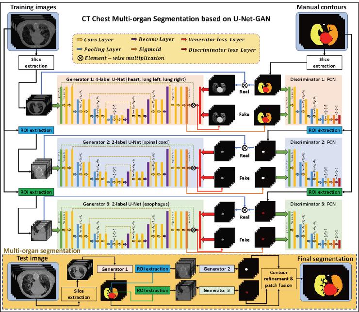 Automatic multi-organ segmentation in thorax CT images using U-Net-GAN
