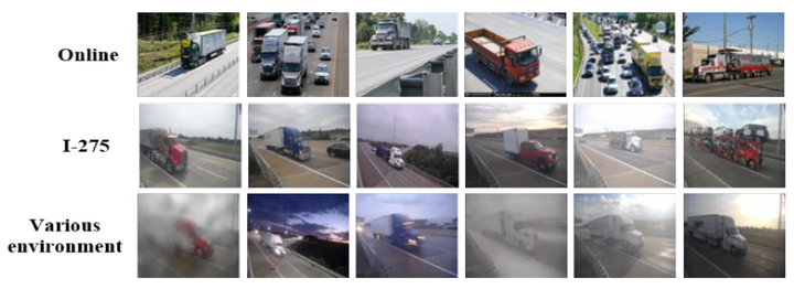 Reidentification of trucks in highway corridors using