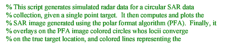 Polar format algorithm for SAR imaging with Matlab